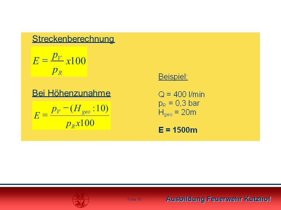 Streckenberechnung Bei Höhenzunahme 100 ) 10 : ( x p H E R geo V - =