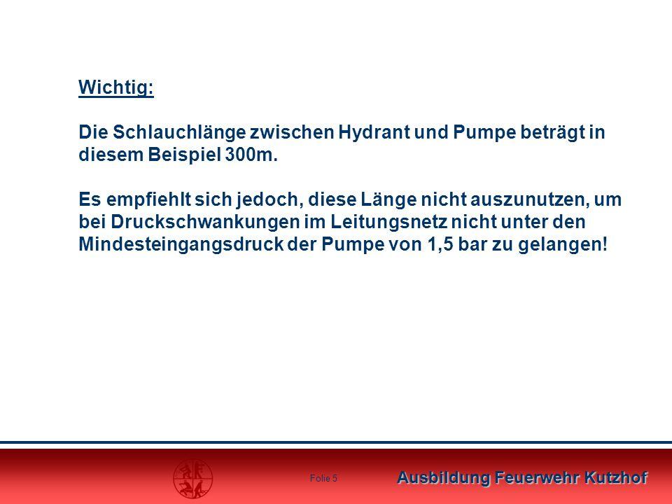 Wichtig: Die Schlauchlänge zwischen Hydrant und Pumpe beträgt in diesem Beispiel 300m.