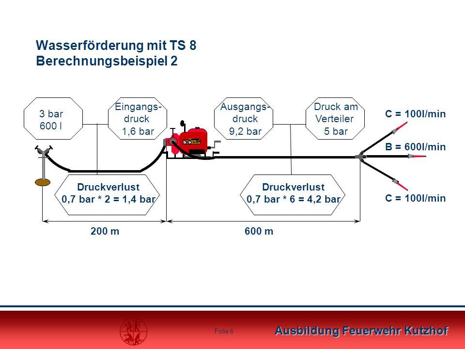 Wasserförderung mit TS 8 Berechnungsbeispiel 2