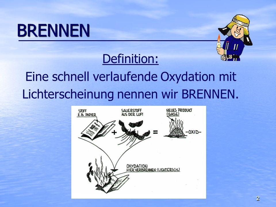 BRENNEN Definition: Eine schnell verlaufende Oxydation mit