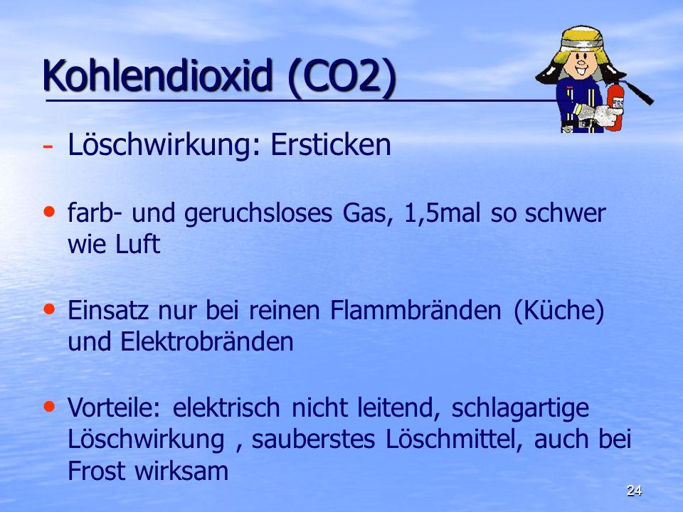 Kohlendioxid (CO2) Löschwirkung: Ersticken