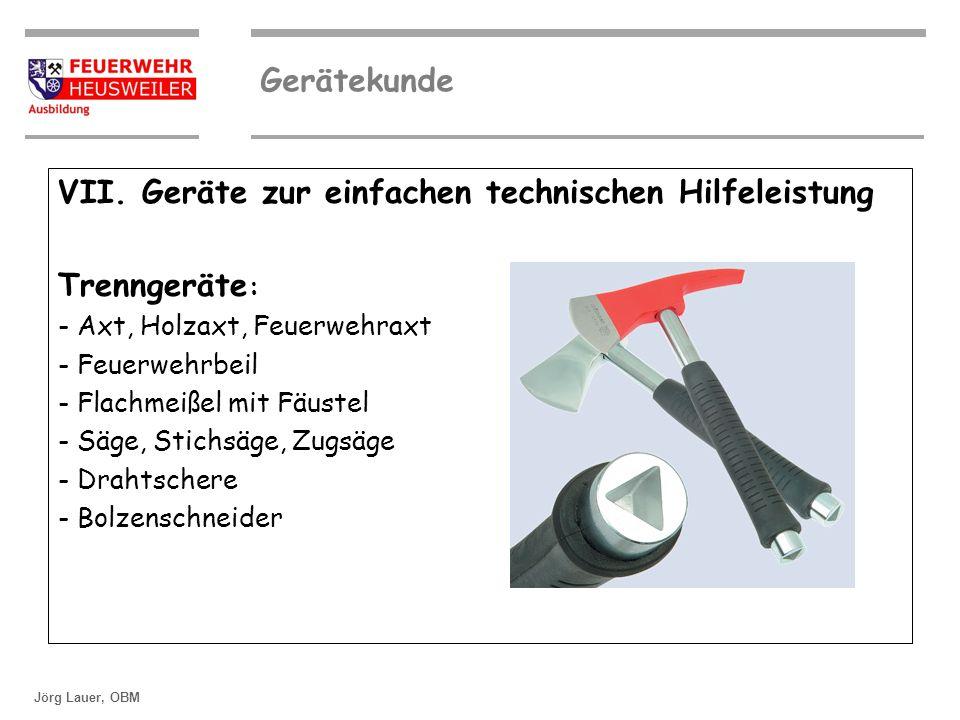 VII. Geräte zur einfachen technischen Hilfeleistung Trenngeräte: