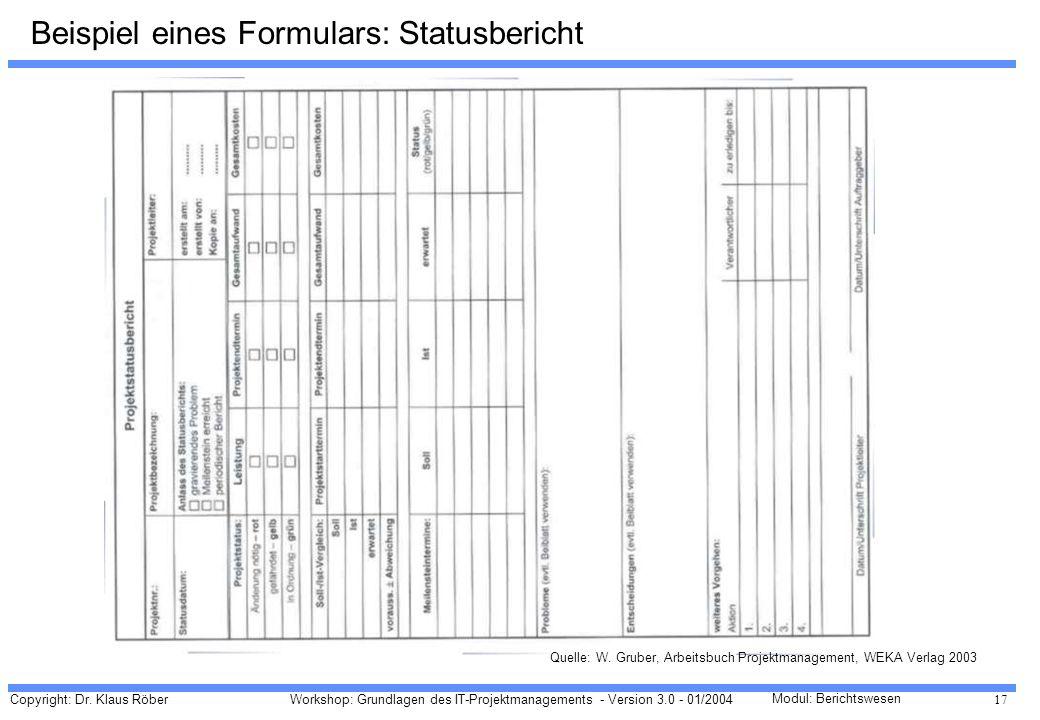 Beispiel eines Formulars: Statusbericht