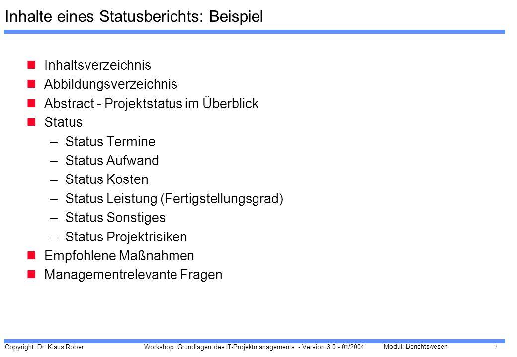 Inhalte eines Statusberichts: Beispiel