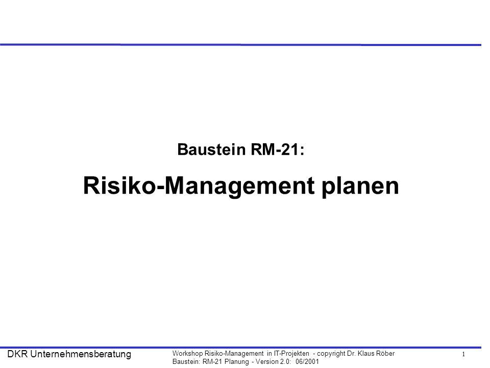 Baustein RM-21: Risiko-Management planen