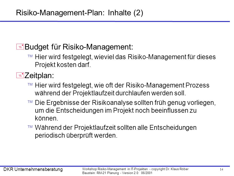 Risiko-Management-Plan: Inhalte (2)