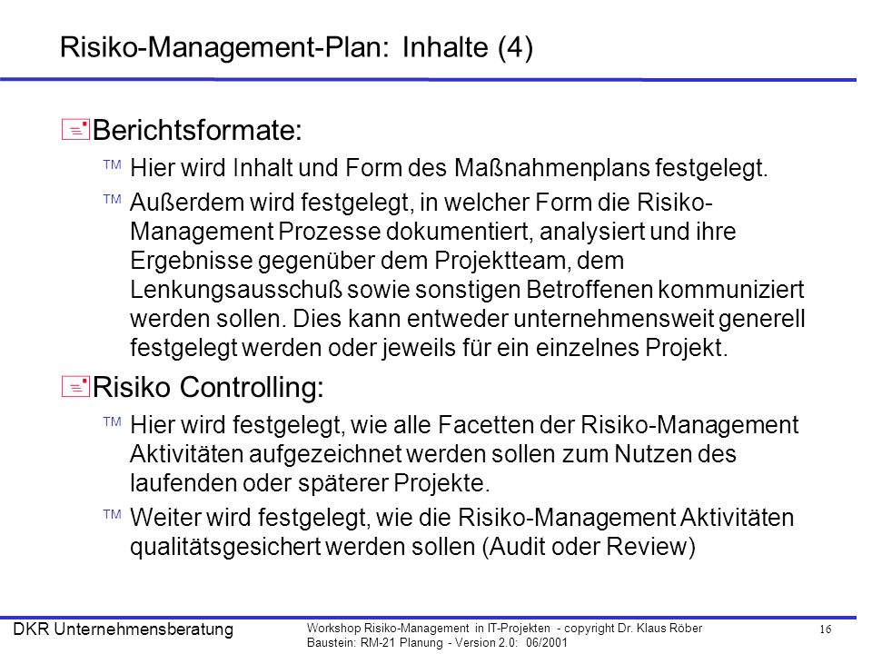 Risiko-Management-Plan: Inhalte (4)