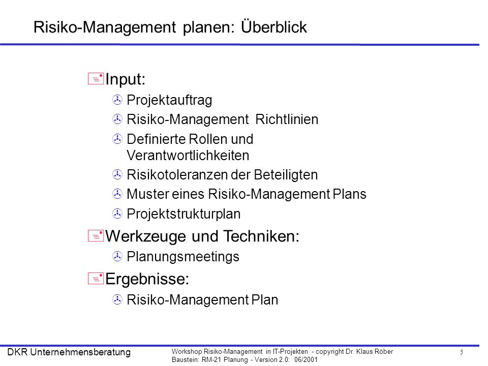 Risiko-Management planen: Überblick