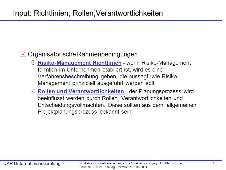 Input: Richtlinien, Rollen,Verantwortlichkeiten