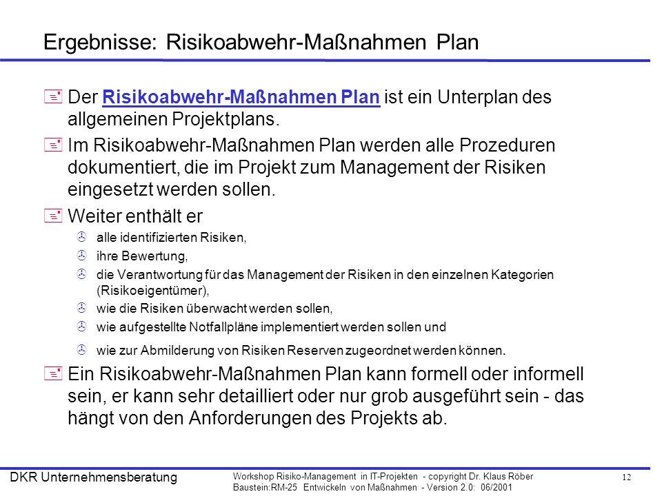 Ergebnisse: Risikoabwehr-Maßnahmen Plan