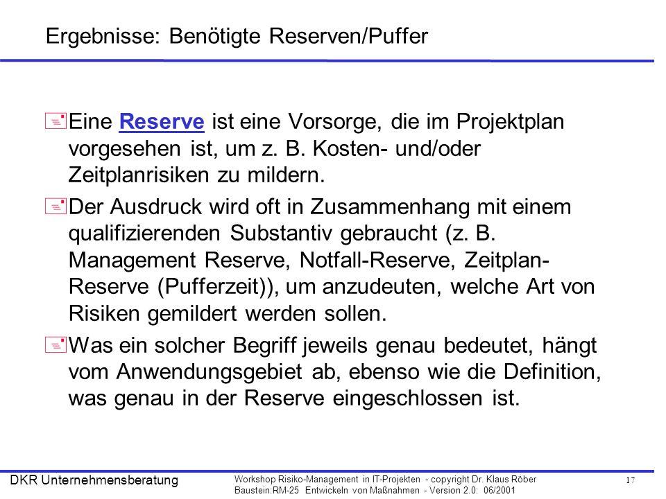 Ergebnisse: Benötigte Reserven/Puffer