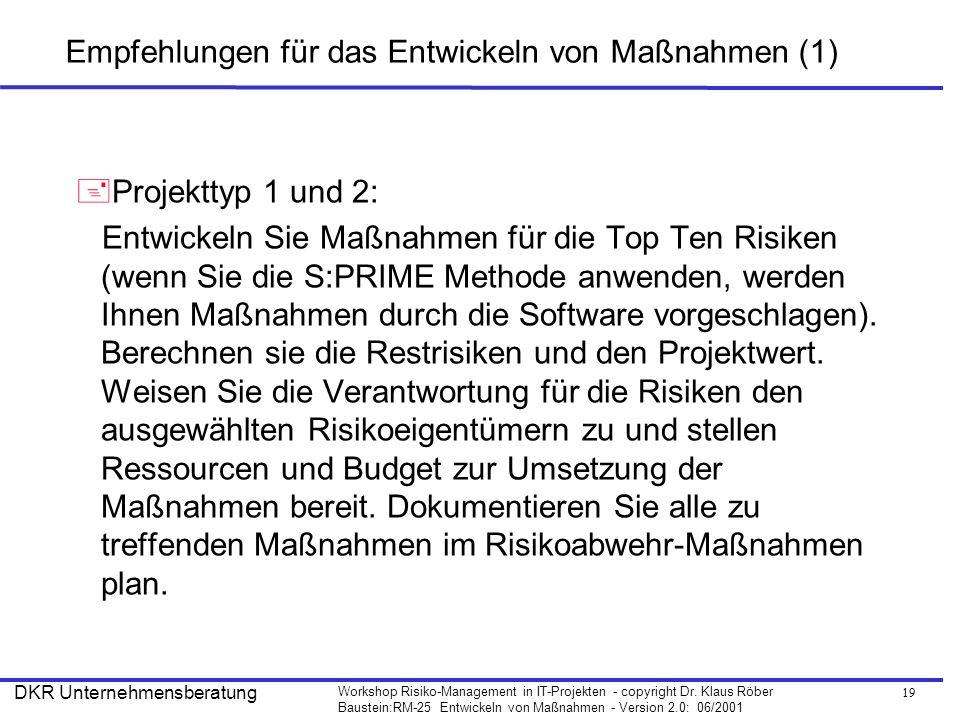 Empfehlungen für das Entwickeln von Maßnahmen (1)