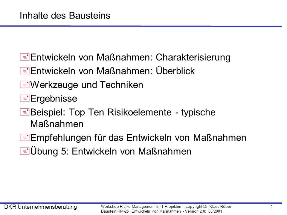 Inhalte des Bausteins Entwickeln von Maßnahmen: Charakterisierung. Entwickeln von Maßnahmen: Überblick.