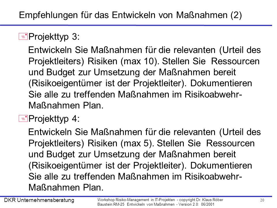 Empfehlungen für das Entwickeln von Maßnahmen (2)