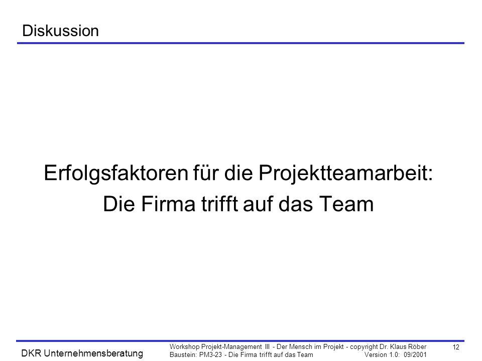 Erfolgsfaktoren für die Projektteamarbeit: