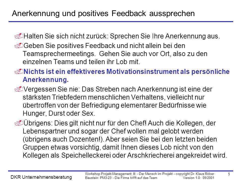 Anerkennung und positives Feedback aussprechen