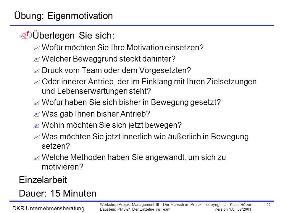 Übung: Eigenmotivation
