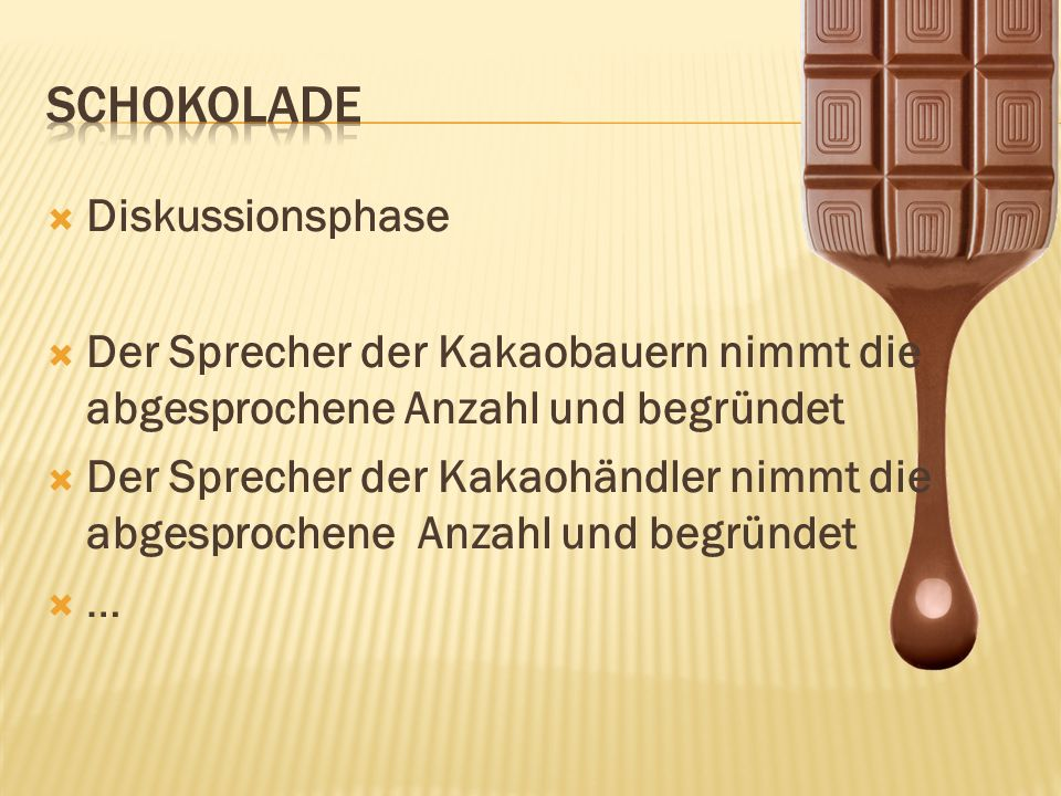 Schokolade Diskussionsphase