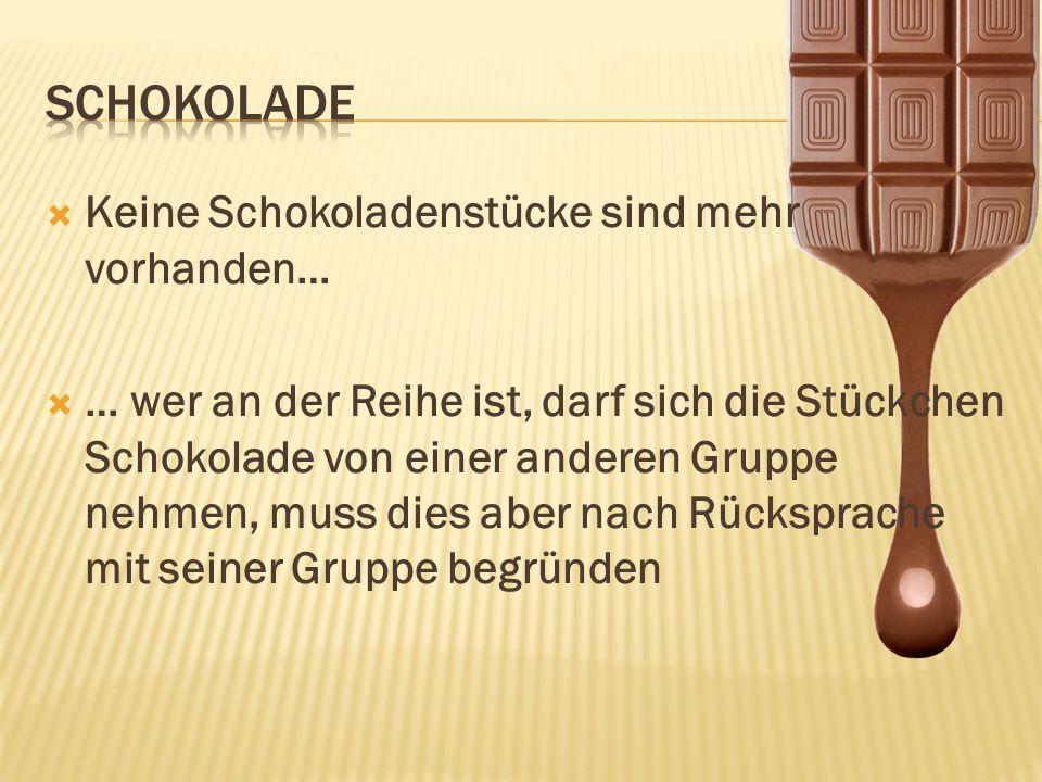 Schokolade Keine Schokoladenstücke sind mehr vorhanden…