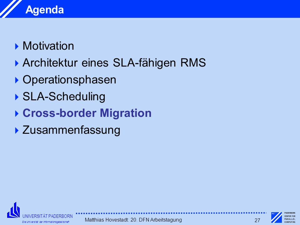 Architektur eines SLA-fähigen RMS Operationsphasen SLA-Scheduling