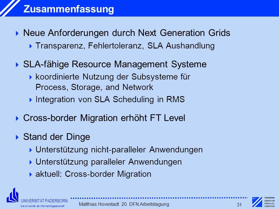 Zusammenfassung Neue Anforderungen durch Next Generation Grids