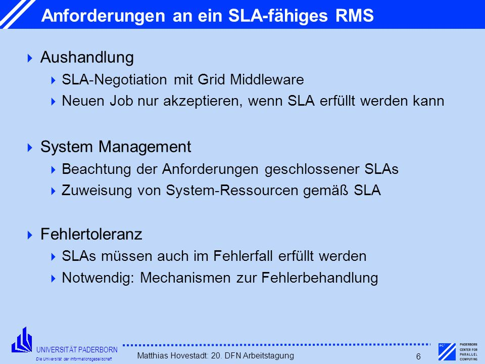 Anforderungen an ein SLA-fähiges RMS