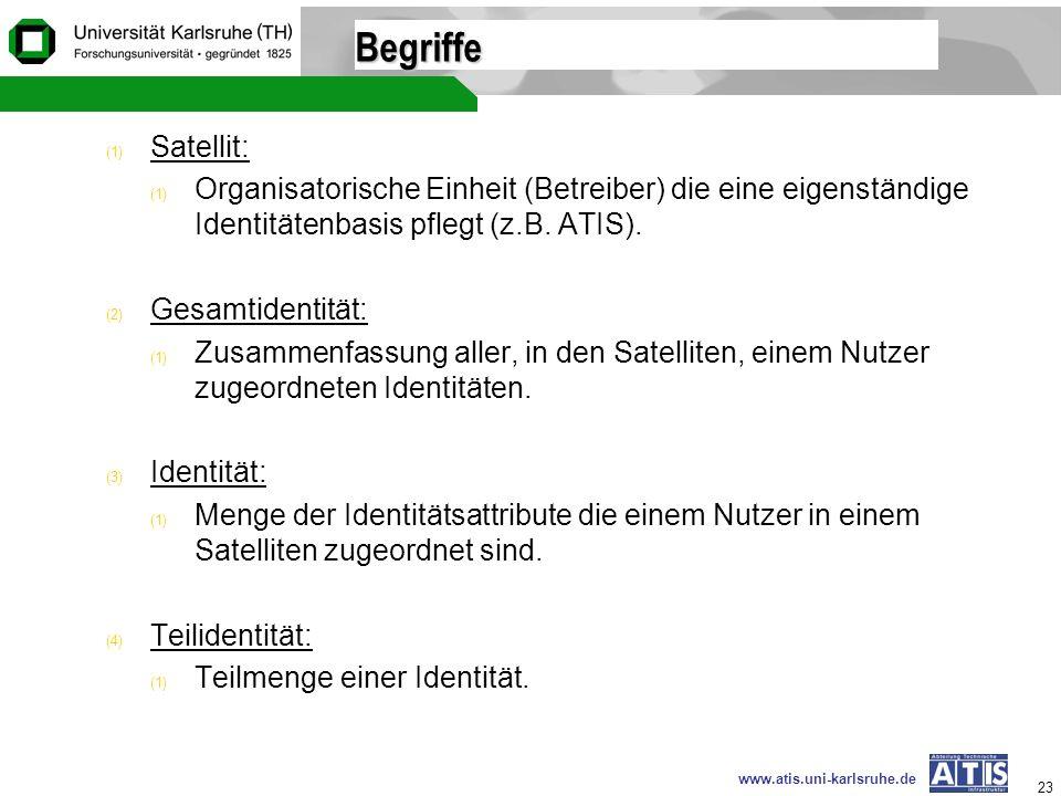 Begriffe Satellit: Organisatorische Einheit (Betreiber) die eine eigenständige Identitätenbasis pflegt (z.B. ATIS).