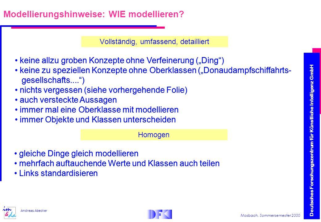 Modellierungshinweise: WIE modellieren