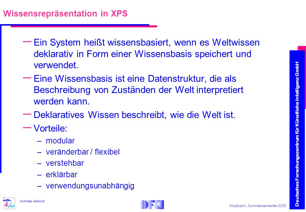 Wissensrepräsentation in XPS