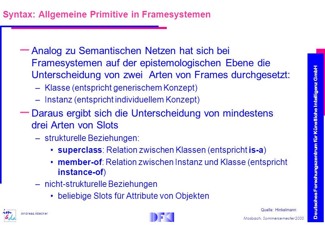 Syntax: Allgemeine Primitive in Framesystemen