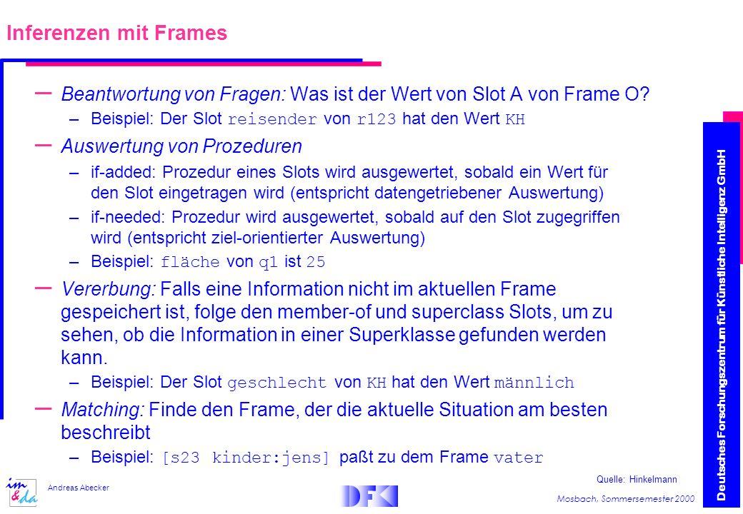 Inferenzen mit Frames Beantwortung von Fragen: Was ist der Wert von Slot A von Frame O Beispiel: Der Slot reisender von r123 hat den Wert KH.