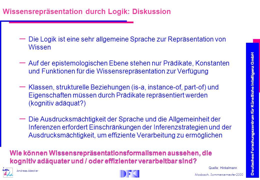 Wissensrepräsentation durch Logik: Diskussion