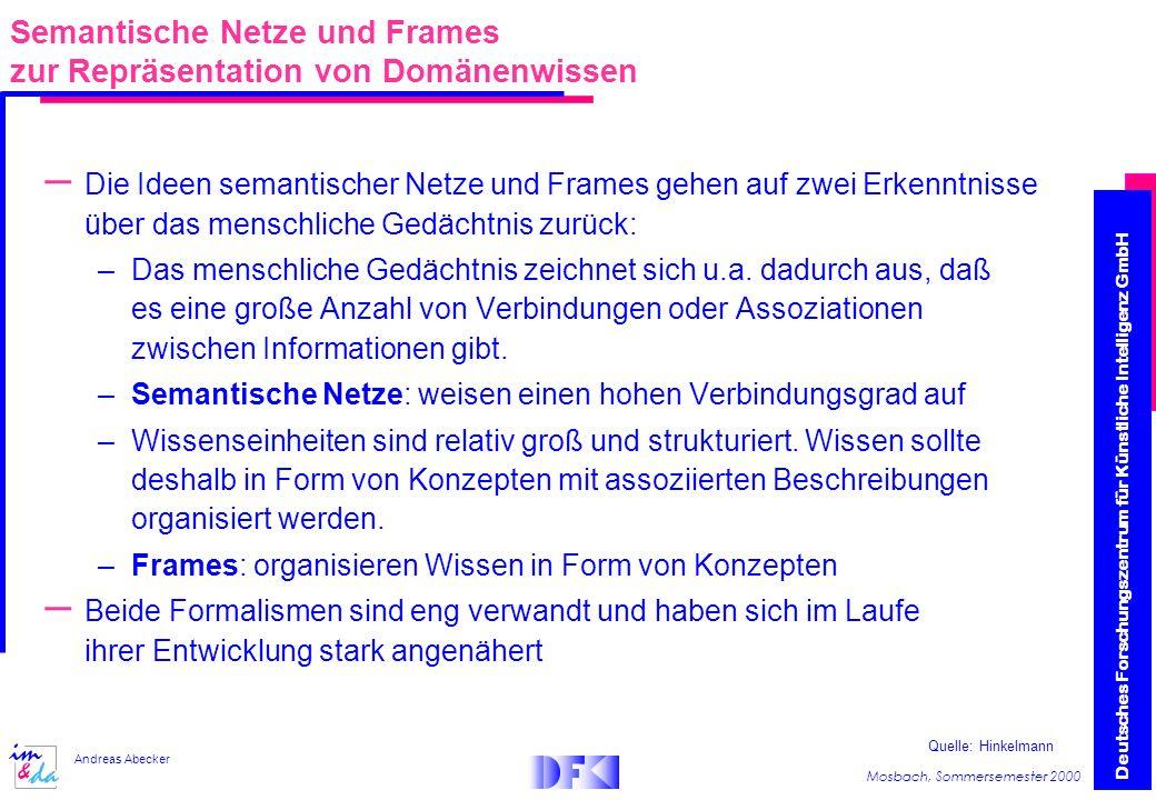 Semantische Netze und Frames zur Repräsentation von Domänenwissen