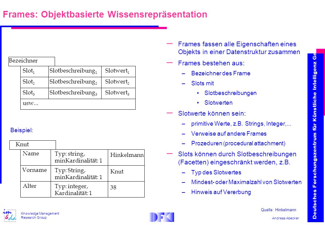 Frames: Objektbasierte Wissensrepräsentation