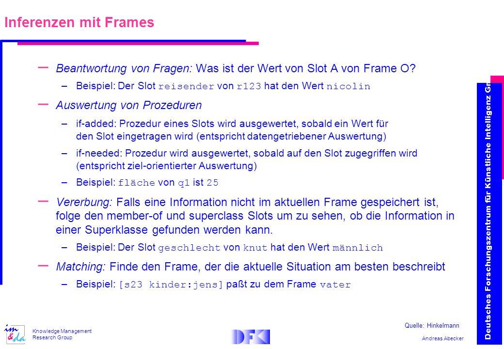 Inferenzen mit Frames Beantwortung von Fragen: Was ist der Wert von Slot A von Frame O Beispiel: Der Slot reisender von r123 hat den Wert nicolin.