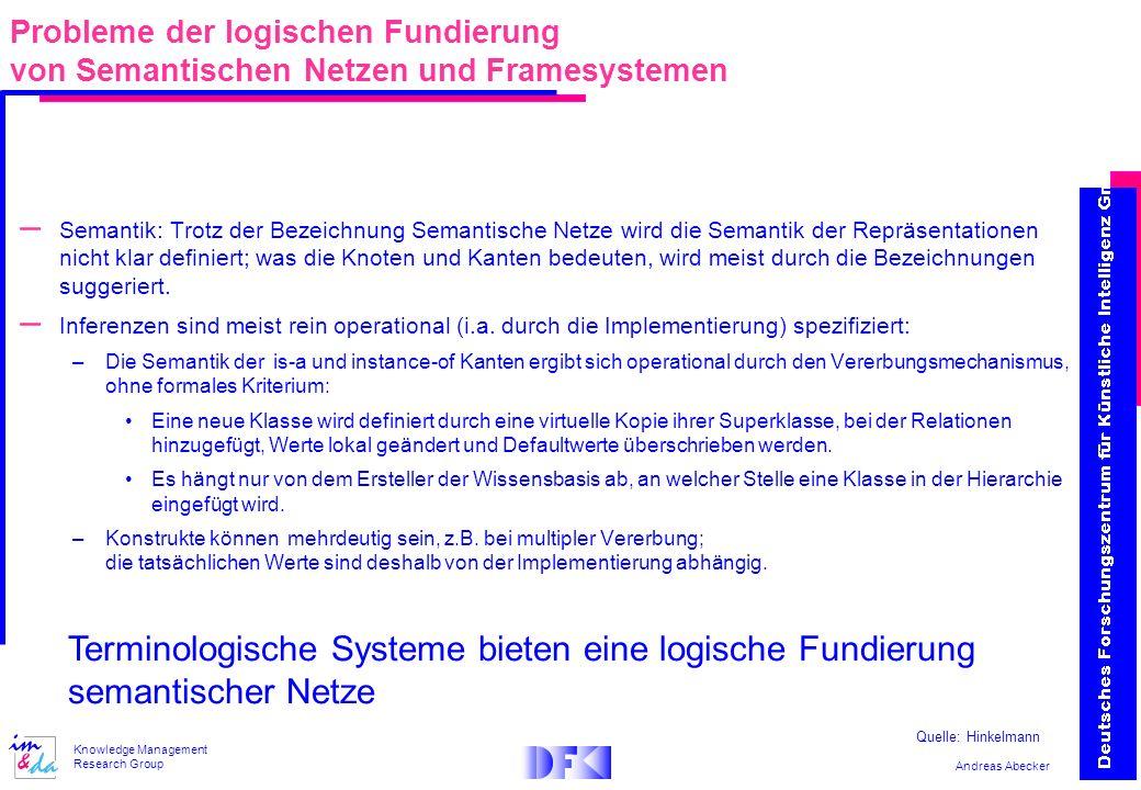 Probleme der logischen Fundierung von Semantischen Netzen und Framesystemen