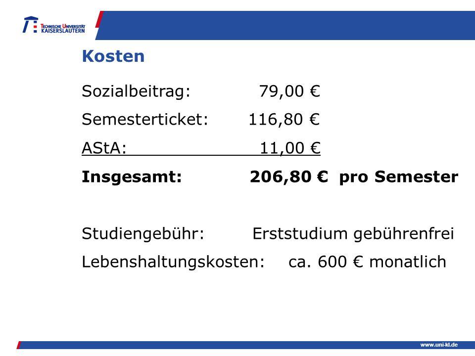 Kosten Sozialbeitrag: 79,00 € Semesterticket: 116,80 € AStA: 11,00 €