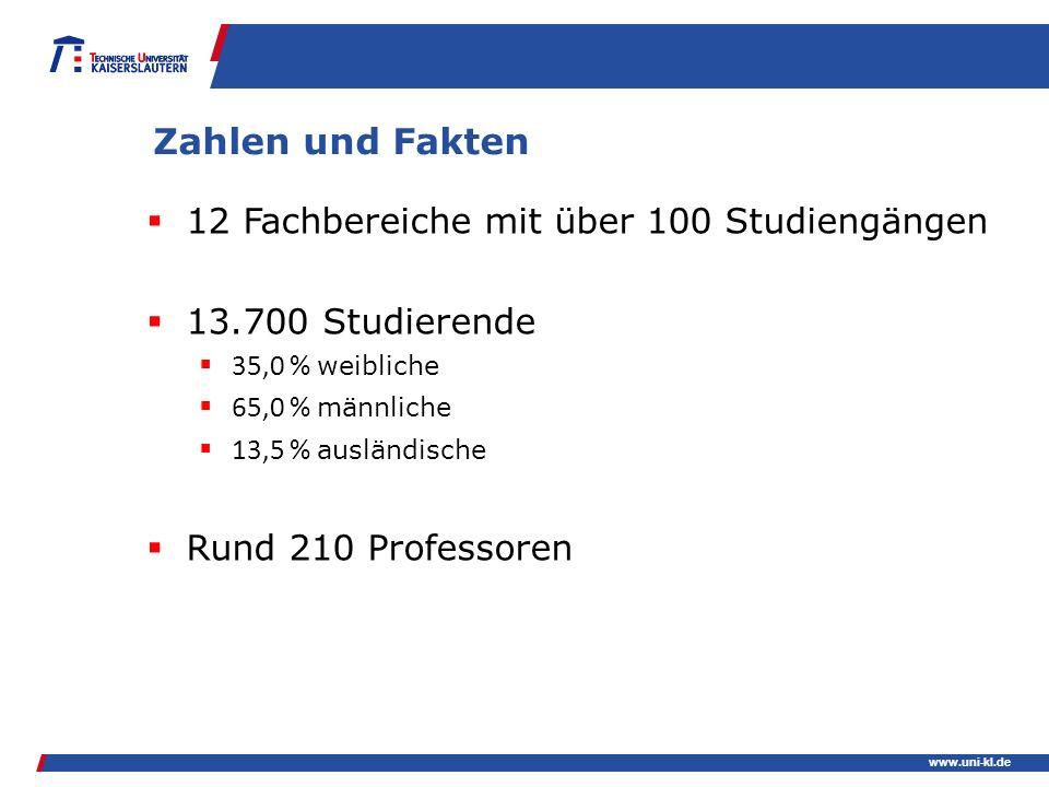Zahlen und Fakten 12 Fachbereiche mit über 100 Studiengängen