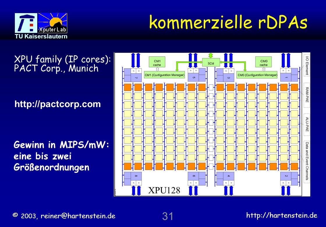 kommerzielle rDPAs 31 XPU family (IP cores): PACT Corp., Munich