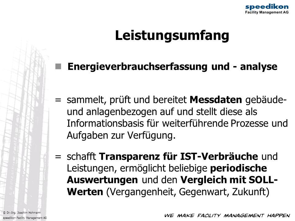 Leistungsumfang Energieverbrauchserfassung und - analyse