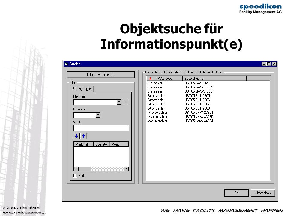 Objektsuche für Informationspunkt(e)
