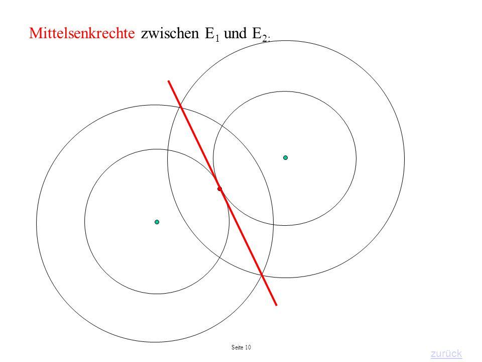 Mittelsenkrechte zwischen E1 und E2:
