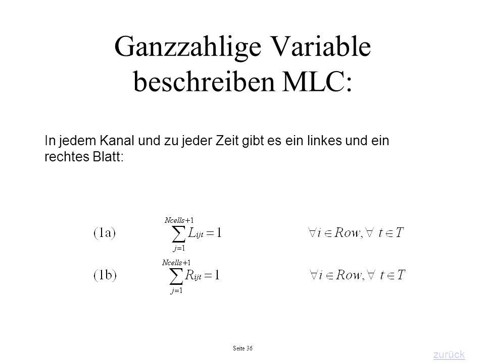 Ganzzahlige Variable beschreiben MLC: