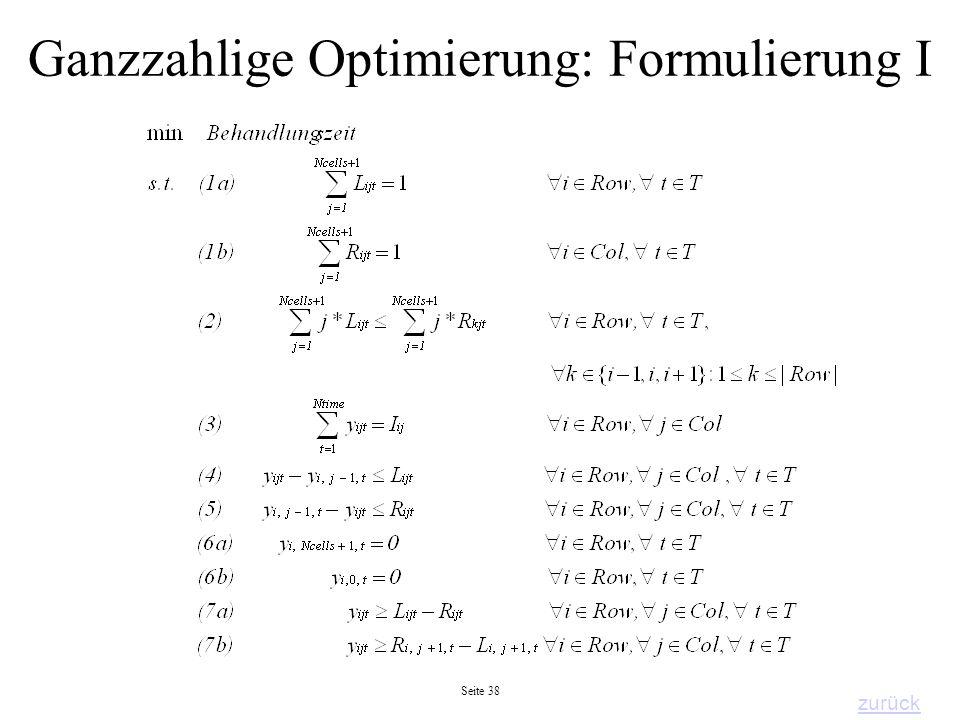 Ganzzahlige Optimierung: Formulierung I