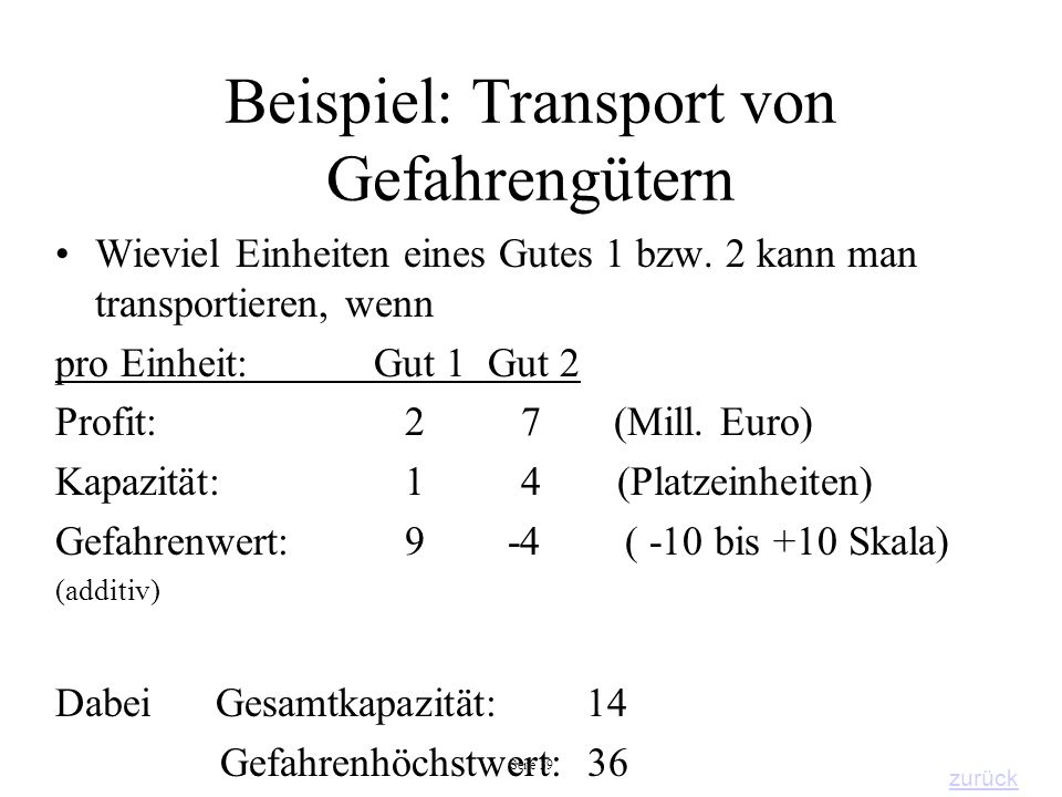 Beispiel: Transport von Gefahrengütern