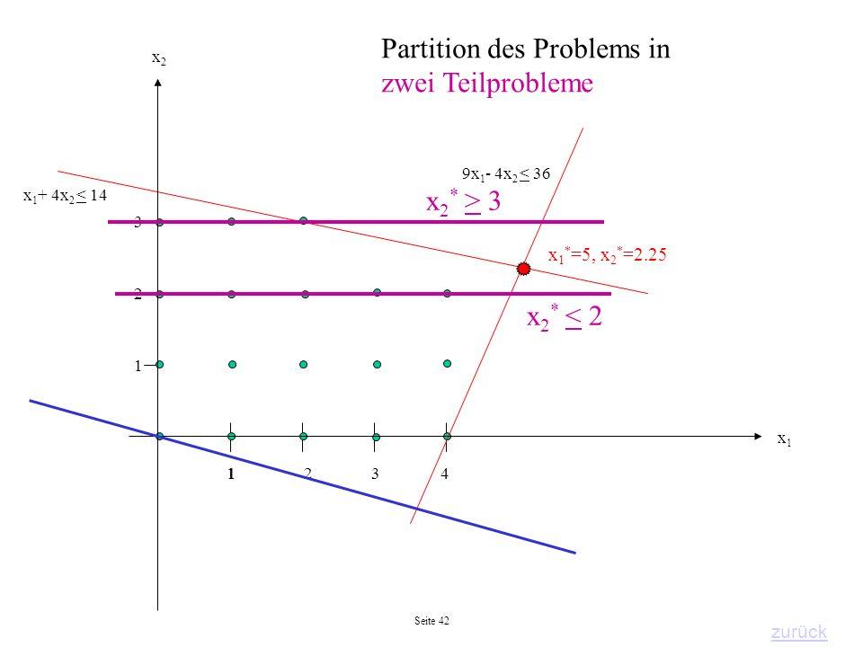 Partition des Problems in zwei Teilprobleme