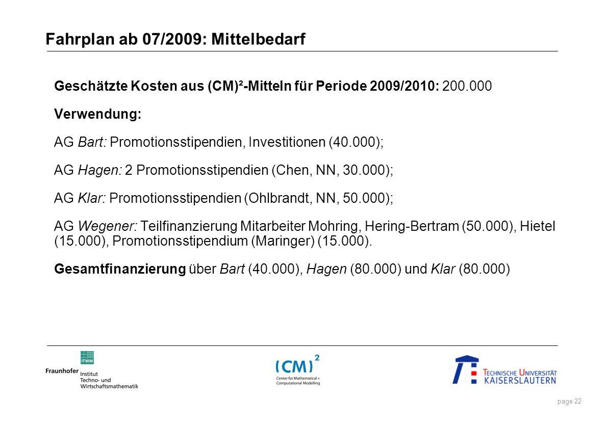 Fahrplan ab 07/2009: Mittelbedarf