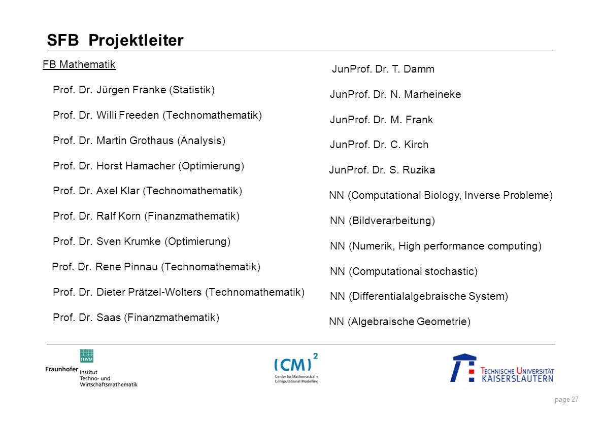 SFB Projektleiter FB Mathematik Prof. Dr. Jürgen Franke (Statistik)