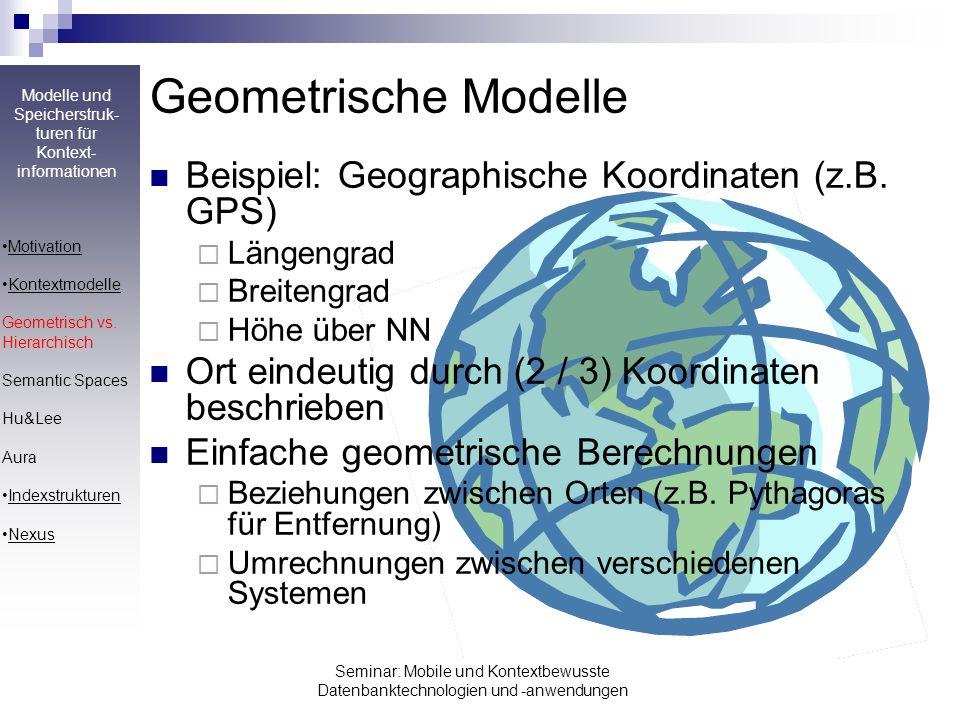 Geometrische Modelle Beispiel: Geographische Koordinaten (z.B. GPS)