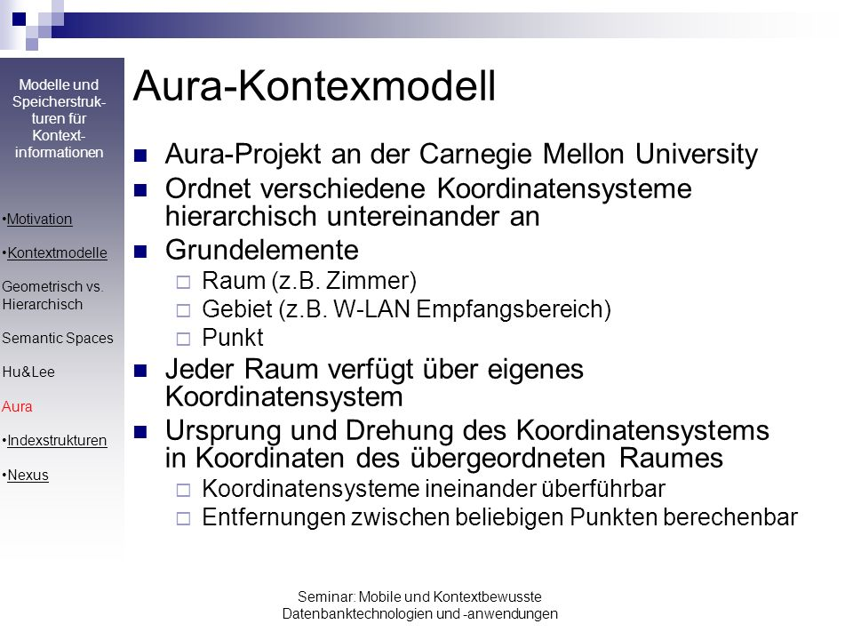 Aura-Kontexmodell Aura-Projekt an der Carnegie Mellon University